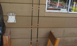"""Two solid glass Peetz rods (6'6"""") and two Peetz 6"""" reels ,all for $90."""