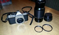 I have a pentax k1000, used it for a photography course in school. Comes with 2 lenses 50mm f2 and 70-150 f4.5, original leathet case(like new condition) and 2 filters. both lenses are in good shape and very smooth, good battery. Original light seals, but