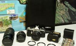 Pentax Asahi ME Super 35mm Film Camera *** HUGE BUNDLE with 3 Lenses, Hard Case, Flash, 3 Close Up Lenses, 3 Filters, and Strap *** ~ A RARE COLLECTOR'S SET ~ Perfect for Beginners.... Student Photographers... and Hard-Core Pentax Enthusiasts * Please
