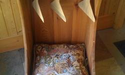 """Up for sale is a wonderful pet bed, with bottom drawer, top shelf, rod, 3 hangers and dog pattern pillow. Handmade in Kaslo. The piece measures 30"""" h x 15"""" x 15"""""""