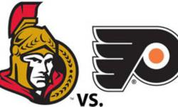 2 Club Seats in Ottawa, January 8th, 5pm game.  Section 107 (reds), row G, right behind Flyers bench!!!!  Great Christmas gift!!!