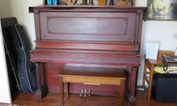 antique wurburnitz upright steel back piano and bench