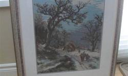 "Needlepoint framed with glass covering art.Good Condition. 29""tall 24""W."