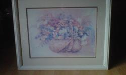 """Beautiful flower basket picture frame and glass are solid. measures width 33"""" x 27""""."""