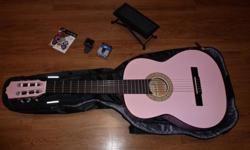 Pink CLASSICAL GUITAR with CASE, Digital TUNER and foot STAND +++ $145.00 I bought this guitar and accessories about 3 years ago in the hope of learning to play. Unfortunately I never found the time... I have too many other hobbies. So this is your chance