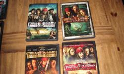 Pirates of the Caribbean Series, Set of Four DVD's Includes: The Curse of the Black Pearl, 2- Disc Collector's Edition Dead Man's Chest At World's End On Stranger Tides All in Excellent Condition