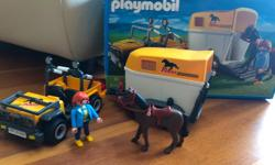 In box Very good condition Includes: A woman, her horse with riding gear and assorted tools, hay, a vehicle, and a horse trailer that attaches All parts included
