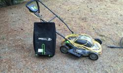 Earthwise plug in electric mower. The mower is 12A, comes with a 50' extension cord and works great. Take it for a spin when you pick it up. I moved to a bigger yard so I upgraded to a gas mower. $60 OBO I am also selling an electric 1400 PSI pressure