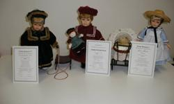 """Trisha Romance porcelain dolls. 12 12"""" tall. Evening Skater, Harrop Homestead, Little Family, Star of Wonder, Patient Angel, Lost Sheep.With boxes and certificates of authenticity. $35 each"""