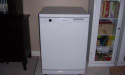 """White Portable Dishwasher Stainless Steel interior Manufactured by Samsung for Brick Excellent working order 36"""" Height, 23 1/2 w, by 25 depth, 1 year Warranty $220 (OBO)"""