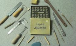 Set of 15 various essential potter's tools. Also includes a brass Alphabet Stamp Set (boxed) which can be used on pottery or leather.