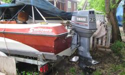 Swiftsure 16 ft. modified tri-hull, model 480BRO with 70hp 2-cycle Yamaha motor, trim and tilt(water pump in 2015). $3495 with EZ Load trailer or $2950 with original Holsclaw trailer.