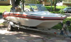 """16"""" fiberglass Swiftsure boat model 480BRO. 70hp Yamaha 2 cycle, with trim and tilt. Water pump replaced 2015. Carried by EZ-Load trailer with 10"""" tires, bearing buddies and accessories. Can be viewed at 58 Haultain Cres. and be tank tested."""