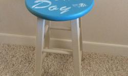 """repurposed stool """"sea's the day"""" is a one of a kind hand painted chair/stool can be used at counters or in other places in your home or cottage. email any question's or offers"""
