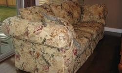 This is a larger, comfy couch. Purchased from SofaLand, very solid construction. Couch has been regularly steam cleaned. Non-smoking, pet-free home.