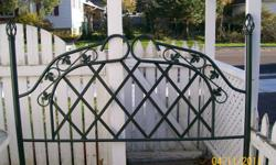 Canopy frame only, mattress frame would need to be bought seperately.   Solid metal.  Dark green with black throughtout.   Excellent condition.