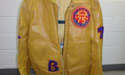 """Queens university engineering leather jacket with nylon inner lining. Size 46, slim fit, fits large or extra large. Very good condition with no stains or damage at all. Have 3 large Queens """"S"""" crests will throw in as well. Selling for $80 and I will ship"""