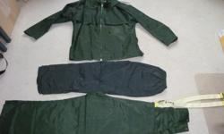 Size Large Coat, pent & cover all, dark green pent black...