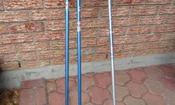 Set of 2 Ramy ski poles, France -- SOLD -- -1 Rossignol ski pole, Italy $5, good back-up, if one of your poles breaks Also have 2 additional sets of ski poles (2nd picture), $10 for a set of two. Set 1: 35 inches in length Set 2: 38 inches in length