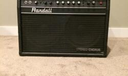 Randall Stereo Chorus 2x10 60 watt 120vac amp for sale. Great condition. Built in stereo chorus with Randall's Stereo Enhancement circuitry. This creates a wider stereo imaging effect making the amplifier sound larger. Also selling a Fender Stratocaster