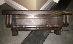 "REPURPOSED EARLY 1900'S PLAYER PIANO PARTS - COAT RACK ONE OF A KIND / CUSTOM MADE 24"" WIDE 10"" TOP TO BOTTOM 11"" DEEP SHELF ON TOP PIANO PEDDLES SERVE AS THREE COAT HANGERS Posted with Used.ca app"