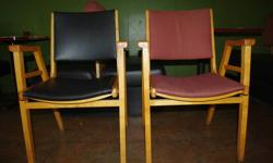33 solid maple restaurant chairs with armrests. Half and uholstered with black vinyl and half with dusty rose upholstery. We are asking $15 a piece OBO. We also have two double and two single booth seats (seating for 3 tables) that are upholstered with