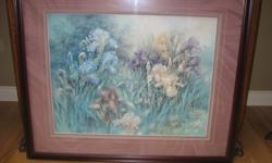 """3 retired Lena Liu prints: #1 - titled """"Iris Garden II"""" is #2306 of a limited edition of 3300. Outside frame dimensions are 36 1/2"""" wide x 31"""" tall. #2 - titled """" Peach & Purple Irises"""" is #2152 of a limited edition of 3300. Outside frame dimensions are"""