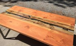 Brightly colored, custom one-off made dining table. Completely solid build with a sleek solid steel frame. Fully seasoned sister douglas fir slabs, stained and layered with protective coats with no special instructions to keep clean. 10mm thick tempered