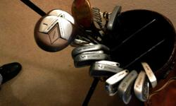 These clubs are right-handed and comprised of a driver, 3-wood, 5-wood and 1, 3, 4, 5, 6, 7, 8, 9, 10 irons and putter. As well there is an insulated beer sleeve, towel, - stroke counter, - foldable cart and - large, leather, 2-tone brown bag with 4