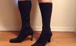 """Rinaldi boots size 8.5 can fit up to a size 9. 3"""" heel. zip up in inner leg. Unique with fabric construction allows for much easier movements in boots. Really like them but having to clean out the closet. Open to offers."""