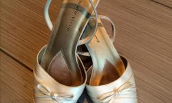 Gorgeous wedding shoes, off white. Very comfortable!! Low heel.
