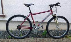 """Early 90s classic Fusion, the frame and paint are in excellent condition. Mix of Shimano LX and DX components, 21 speeds, nice wheels, Marzocchi XC-600 forks are in great shape. Rocky Mountain stem and seatpost. 17"""" frame is a good fit for riders 5'7"""" -"""