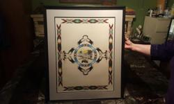 roger cardinal native print nice eagles and buffalo Sean do not no much about print or artist but framed beautifully and frame is 29 by 35 black in color .