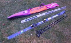 """Rossignol~ 4G Equipe Kevlar~skis with poles (Scott performer) and bag for sale. Skis are 80"""" long. Only $60. Now $55. We are located in Orleans. See our list of other items for sale. First come, first served."""
