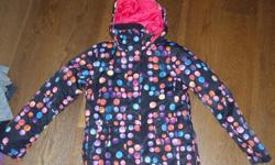 Roxy ski coat,black with colored polka dots,excellent shape,like new,all zippers,velcro and snaps work great,no rips or tears,goggle holder on back of hood. Only worn a few times. Size 14/XL