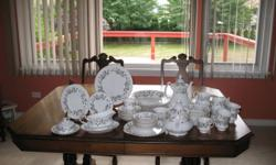 This is a beautiful set of Brigadoon Royal Albert china.  It has been lovingly used and cared for.  All pieces are in mint condition except for a chip on the spout of the teapot. The complete list is as follows:   8 - 5 piece place settings 8 soup bowls 8