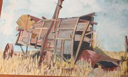 Large 3'x2' painting of old wagon, abandoned in field. Bold and well-executed