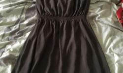 Strapless gray dress. Goes to mid thigh and the fabric is very soft. Worn once on my birthday. Size small. Text or email.