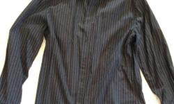 100% cotton men's dress shirt. Dark blue with medium blue and grey pin-stripe. Great for weddings, office, or nice dinners out. Size large