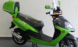 Saga Deluxe 50cc 4-Stroke Gas Scooter Description: This modern and stylish scooter features a longer frame and wheelbase so it accommodates 2 riders as well as having extra cargo space under-seat plus the lockable rear storage case. A 49cc 4-stroke motor