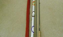 Sage fly rod. 8ft, rated as a 5/6 wt but I would rate it as 5 wt. Medium action. Great for dry flies. In excellent condition. Includes sock and aluminum rod case.