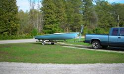 1976?  18 ft SAILBOAT and trailer,needs some TLC   Boat and trailer have Chrysler stickers on them.  Trailer could be used for other boat. Has 20 ft approx.. mast rudder and handle etc.  $600 or would trade for JEEP project    519-426-0332   Vittoria