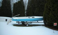 1976? Chrysler sailboat and trailer,  18 ft long, Needs some TLC ,fiberglass work in back corner and where bunk sits when it's on the trailer Has 24 ft long aluminum  main mast, I have large sail but is missing small sail.  Have some cables ,ropes etc