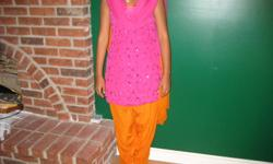 FANTASTIC price for three (3) outfits, that are extremely eye catching, gorgeous, vibrant in color, and in mint condition: OUTFIT 1 - Sari/Saree four (4) pieces: tank top, sleeved top, pant and Xlarge scarf. Color: fusia/orange. Size: medium. OUTFIT 2 -