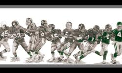 "PASSING the PRIDE Celebrate 100 Years of Saskatchewan Roughriders Quarterback Pride! This is my graphite pencil artwork entitled, ""Passing the Pride"". The original size Limited Edition prints (9"" x 24"") are $109 and the smaller 6"" x 17"" Open Edition"