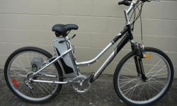 Medium Schwinn IZIP -Seven speed gearing -Step through frame style for easy riding -Brand new battery ($200) Bike is located at Island Cycle (114 Hirst Ave. Parksville) Our hours of operation are 10-5pm Mon-Fri & 10-4 Sat