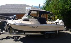 Twin 150 ETec 2007 with 830 and 860 hours with 58% of hours at trolling speed under 1000rpm. Last complete service with new plugs Oct. 2011. Complete successful survey 2009. Lowrance 18c, Furuno radar, VHS radio. Complete re-wiring 2008, Electric