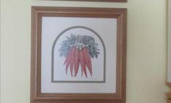 Set of 3 framed pictures of vegetables for the kitchen.