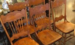 Beautiful set of 5 elm pressback chairs, all completely restored. ANTIQUE ADDICT 12 Roberts St. Ladysmith (1 hour from Victoria) Open 10-5