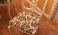 "Great condition Newly reupholstered 4 chairs and has a leaf to extend the table. Painted with Annie Sloan chalk paint. Roughly 48"" in diameter, but if important I'll verify,"